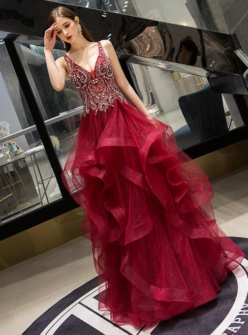 Burgundy Tulle Deep V-neck Beading Crystal Prom Dress