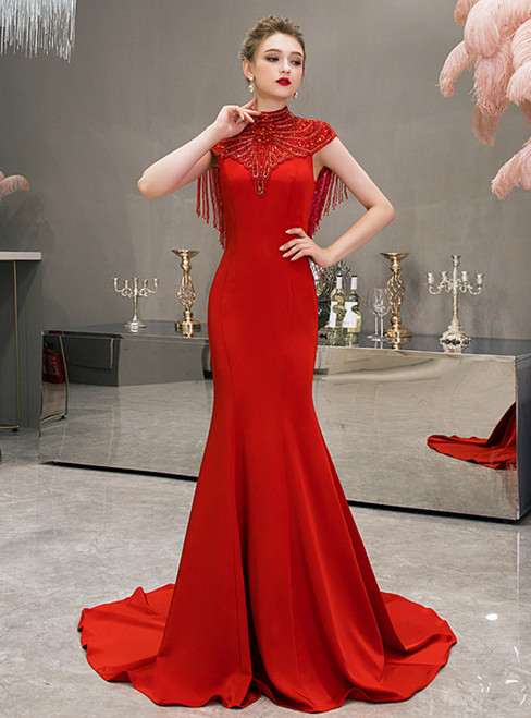 Red Mermaid Satin High Neck Cap Sleeve Beading Crystal Prom Dress