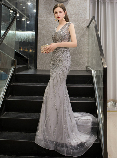 Sexy Gray Mermaid Backless V-neck Beading Prom Dress