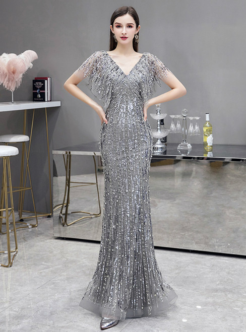 Silver Gray Mermaid Sequins V-neck Bat Sleeve Prom Dress