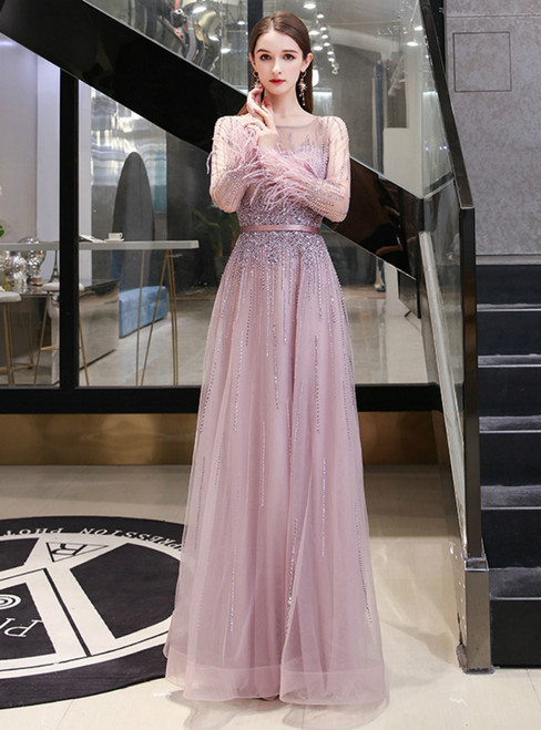 A-Line Pink Tulle Long Sleeve Feather Beading Prom Dress