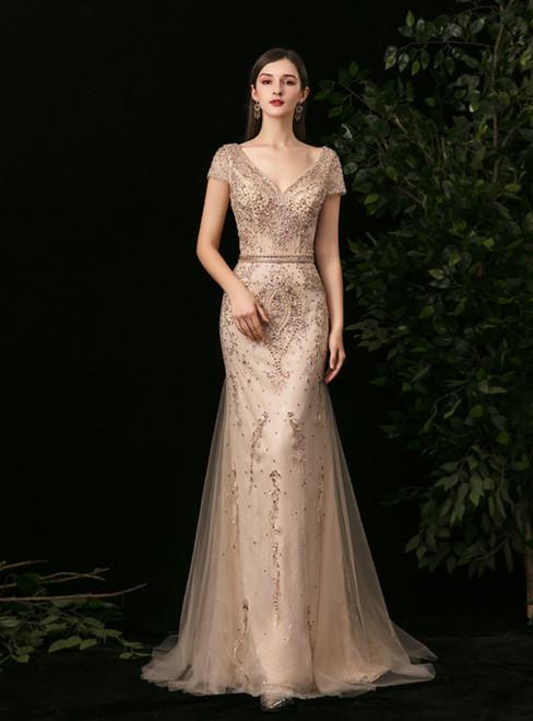 Gold Mermaid Tulle V-neck Backless Beading Sequins Prom Dress