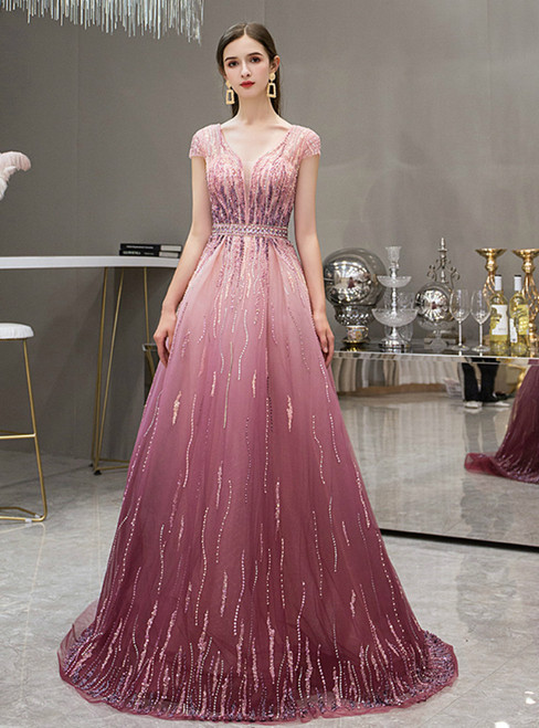 Pink Tulle V-neck Cap Sleeve Backless Beading Sequins prom Dress