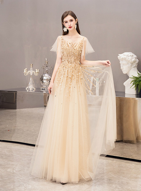 Gold Tulle Short Sleeve Beading Sequins Formal Prom Dress