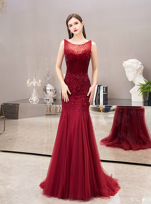 Burgundy Mermaid Tulle Beading Sequins Backless Prom Dress