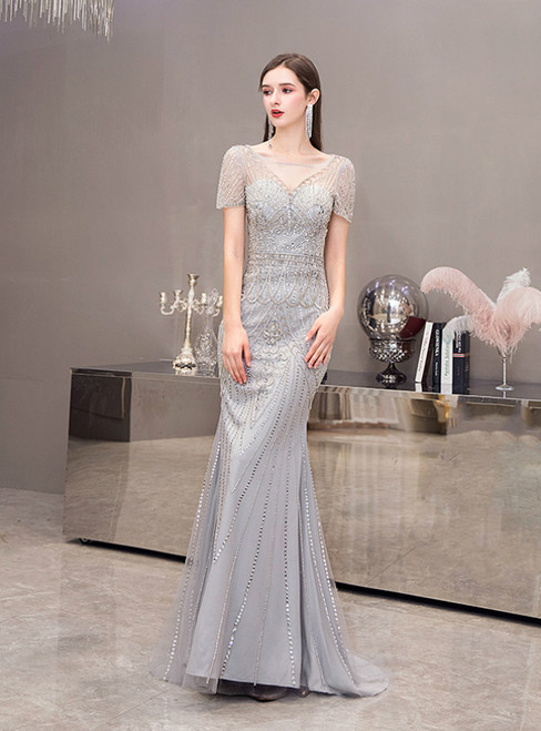 Gray Mermaid Tulle Cap Sleeve Beading Sequins Prom Dress