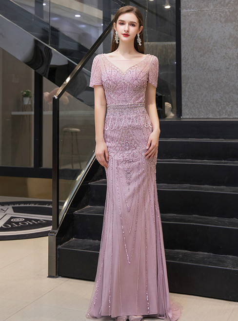 Pink Mermaid Tulle V-neck Cap Sleeve Handwork Prom Dress