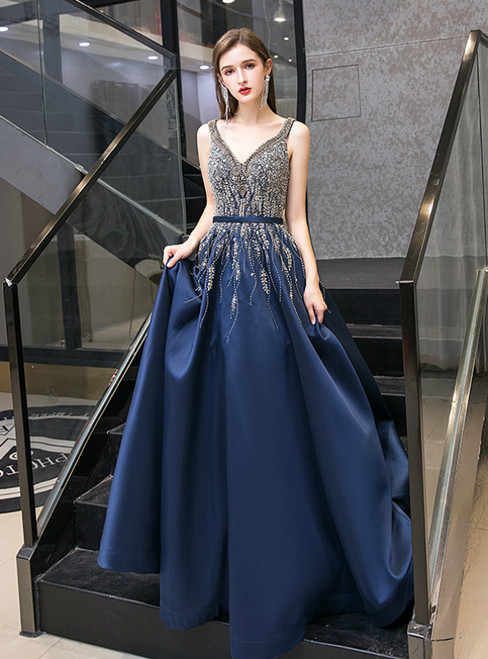 Navy Blue Satin V-neck Beading Sequins Prom Dress With Pocket