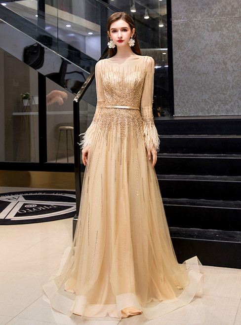 Fashion Gold Tulle Long Sleeve Beading Feather Prom Dress