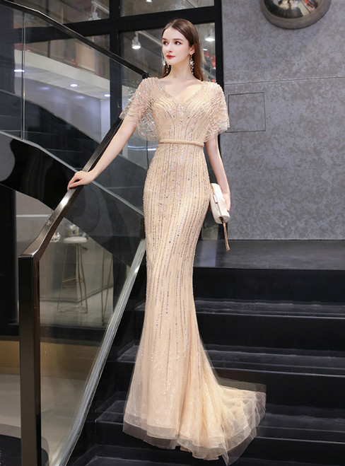 Gold Mermaid Tulle V-neck Bat Sleeve Beading Sequins Prom Dress