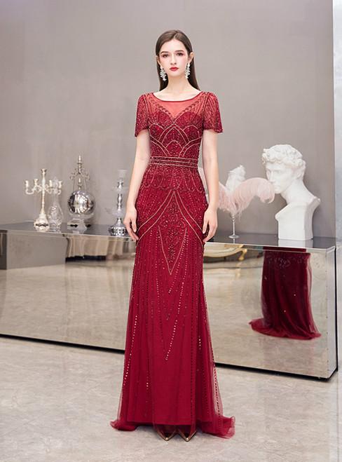 Burgundy Sheath Tulle Short Sleeve Beading Sequins Prom Dress
