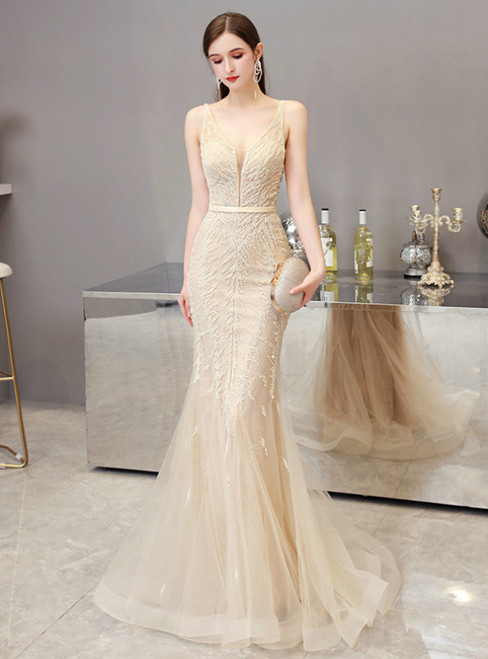 Gold Mermaid Tulle V-neck Backless Beading Prom Dress