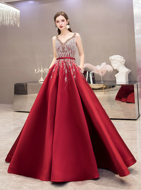 Burgundy Satin V-neck Beading Sequins Prom Dress With Pocket