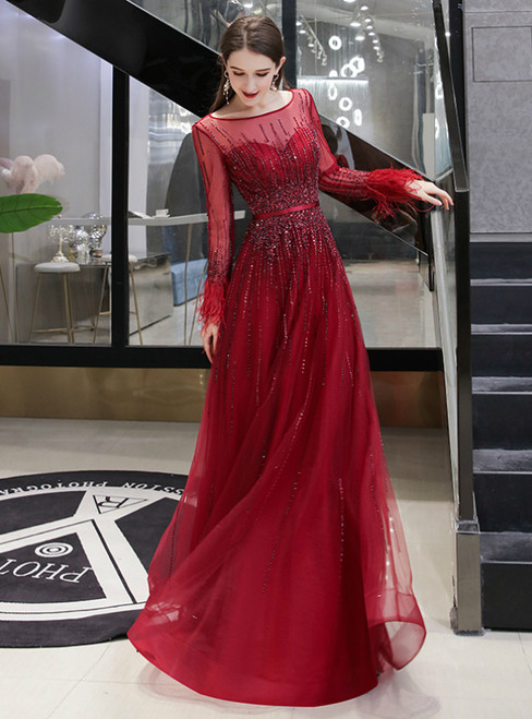 Burgundy Tulle Long Sleeve Beading Sequins Feather Prom Dress