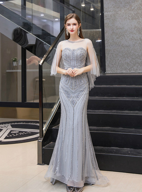 Sexy Gray Mermaid Tulle Scoop Beading Sequins Prom Dress