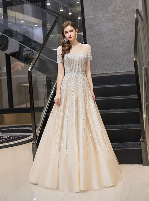 A-Line Gold Tulle Sequins Beading Short Sleeve Prom Dress