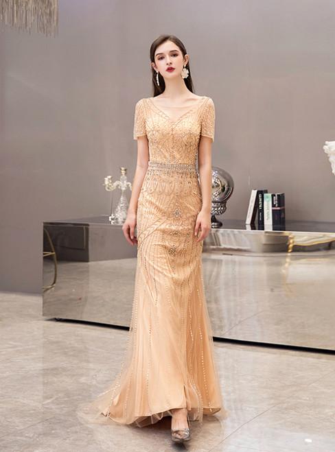 Gold Mermaid Tulle V-neck Short Sleeve Beading Crystal Prom Dress