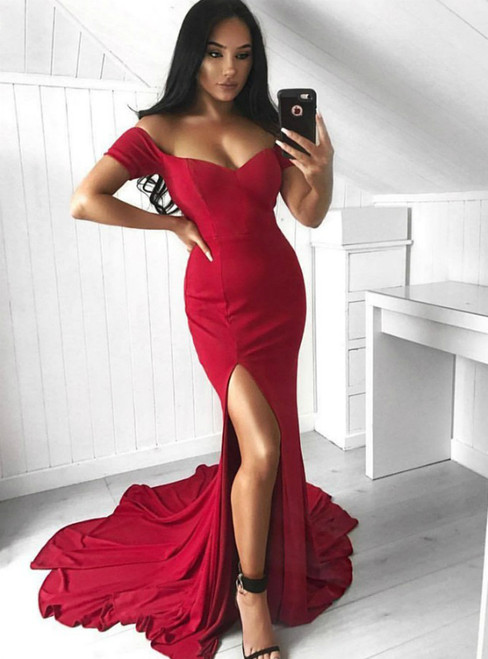 609b5fccd6b Red Prom Dress Mermaid Off The Shoulder Floor Length Prom Dress