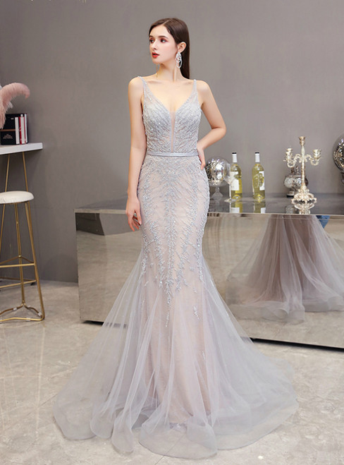 Silver Gray Mermaid Tulle V-neck Backless Beading Prom Dress