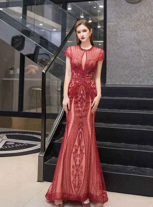 Burgundy Mermaid Tulle Cap Sleeve Beading Sequins Prom Dress