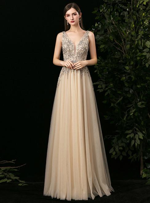 Champagne Tulle Deep V-neck Beading Sequins Prom Dress