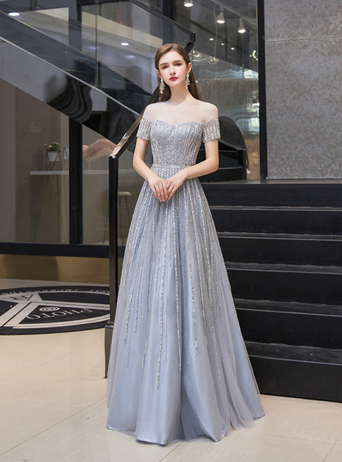 A-Line Gray Short Sleeve Scoop Tulle Beading Prom Dress