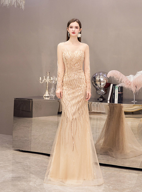 Sexy Gold Mermaid Tulle Long Sleeve Illusion Prom Dress