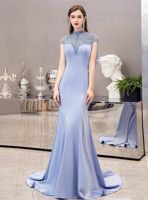 Light Blue Mermaid Satin Cap Sleeve High Neck Beading Crystal Prom Dress