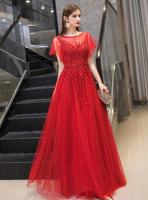 A-Line Red Tulle Beading Sequins Short Sleeve Prom Dress