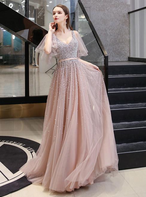 Dark Pink Tulle V-neck Short Sleeve Handwork Beading Prom Dress