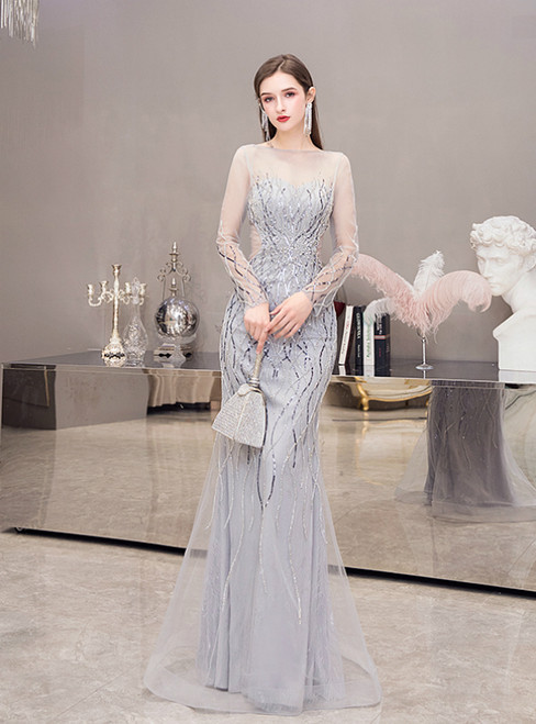 Sexy Gray Mermaid Tulle Sequins Long Sleeve Prom Dress