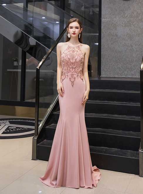 Pink Mermaid Satin Halter Backless Beading Crystal Prom Dress