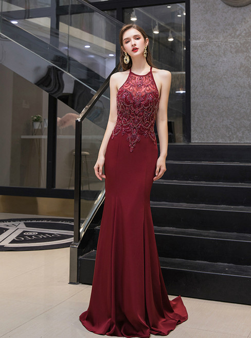 Burgundy Mermaid Satin Halter Backless Crystal prom Dress
