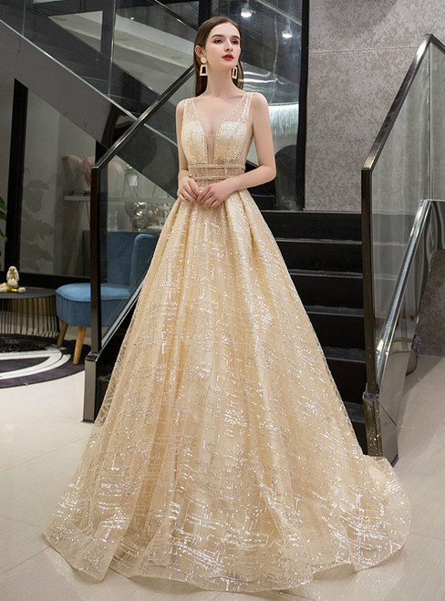 A-Line Gold Tulle Sequins V-neck Backless Illusion Prom Dress