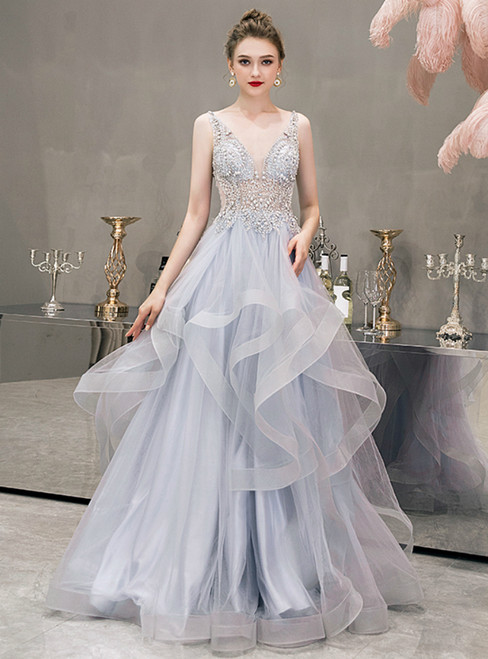 Fantastic Gray Blue V-neck Tulle Beading Sequins Prom Dress