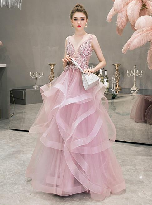 Pink V-neck Tulle Beading Sequins Sleeveless Prom Dress