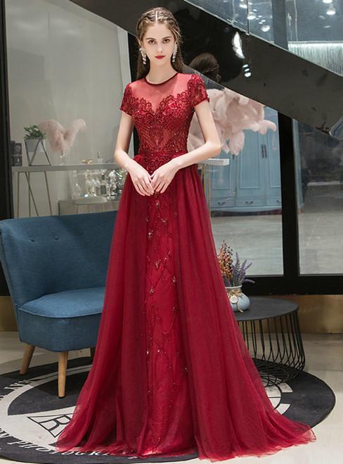 Burgundy Tulle Cap Sleeve Scoop Beading Prom Dress