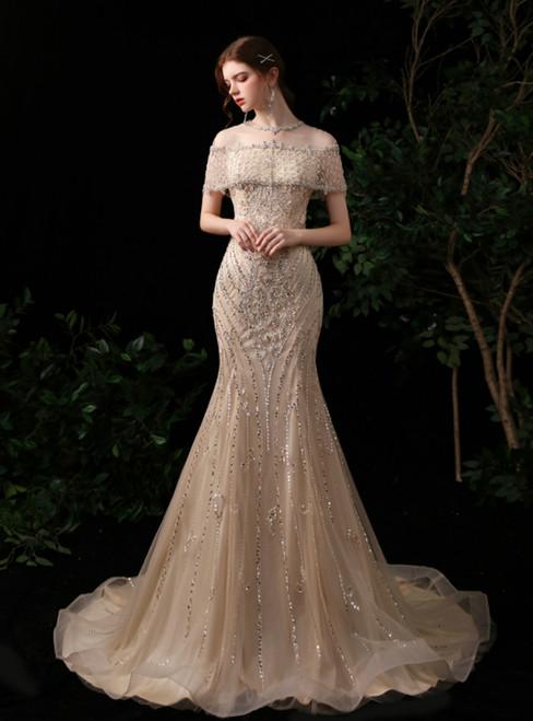 Gold Mermaid Raglan Sleeve Scoop Beading Sequins Prom Dress