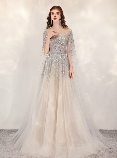 Champagne Gray Tulle Sequins Beading Flying Sleeve Prom Dress