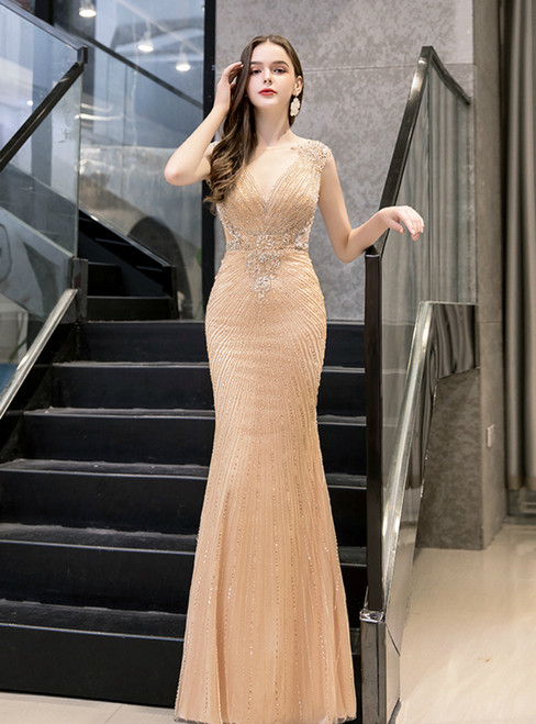 Gold Mermaid Tulle Sequins Beading Cap Sleeve Prom Dress