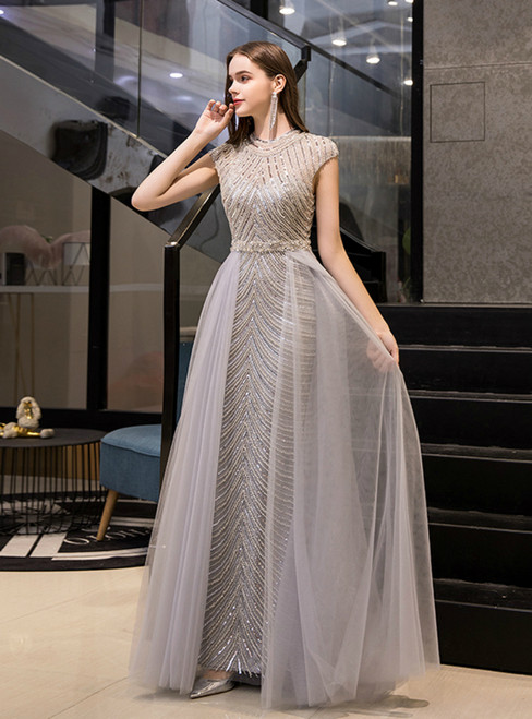 Gray Tulle Sheath High Neck Cap Sleeve Long Prom Dress