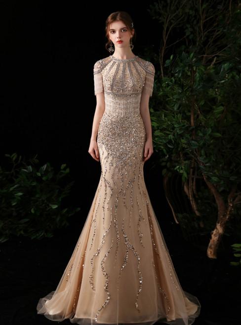 Gold Mermaid Handwork Beading Crystal Formal Prom Dress