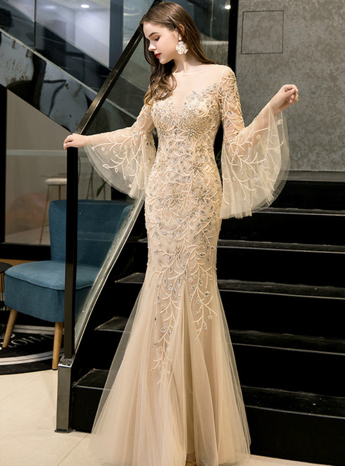 Gold Mermaid Tulle Horn Sleeve Sequins Beading Prom Dress