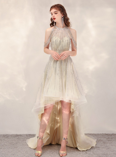 Champagne Tulle Hi Lo Halter Beading Sequins Prom Dress