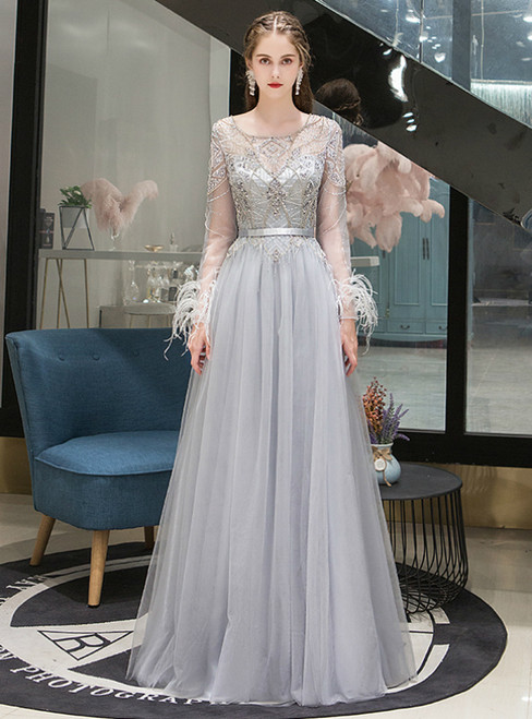 A-Line Gray Tulle Long Sleeve Beading Feather Prom Dress