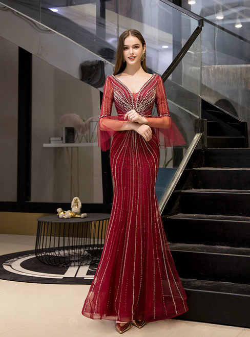 Burgundy Mermaid Tulle V-neck Horn Sleeve Beading Prom Dress