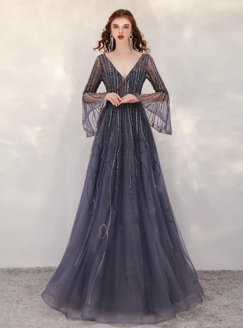 Gray Tulle V-neck Horn Sleeve Beading Sequins Prom Dress