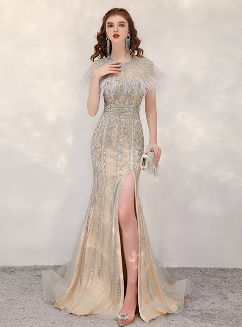 Sexy Gold Mermaid Tulle Beading Sequins Feather Prom Dress