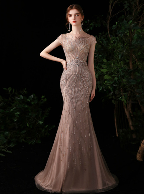 Pink Mermaid Tulle Beading Sequins Cap Sleeve Prom Dress