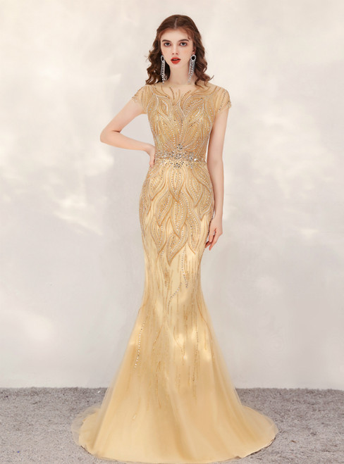 Gold Mermaid Tulle Cap Sleeve Beading Crystal Prom Dress